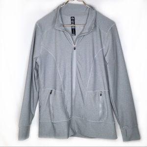 REEBOK Athletic Jacket Grey Large EUC